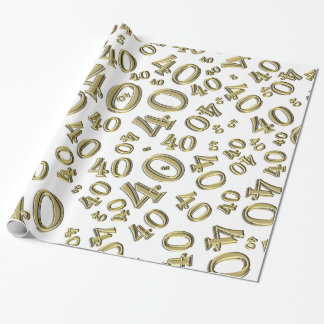 40th Gold/White Birthday Party  Collage Theme Wrapping Paper