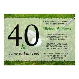 40th Golf Birthday Party 11 Cm X 16 Cm Invitation Card