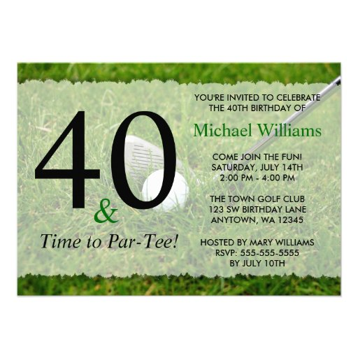 40th Golf Birthday Party Personalized Announcements
