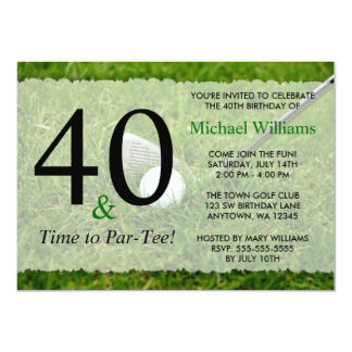 40th Golf Birthday Party 4.5x6.25 Paper Invitation Card