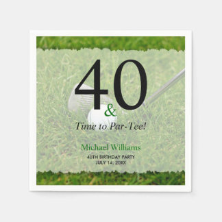 40th Golf Birthday Party Personalized Disposable Napkin