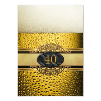 40th Mans Beer Black Gold Birthday Party 11 Cm X 16 Cm Invitation Card