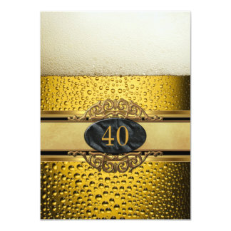 40th Mans Beer Black Gold Birthday Party 4.5x6.25 Paper Invitation Card