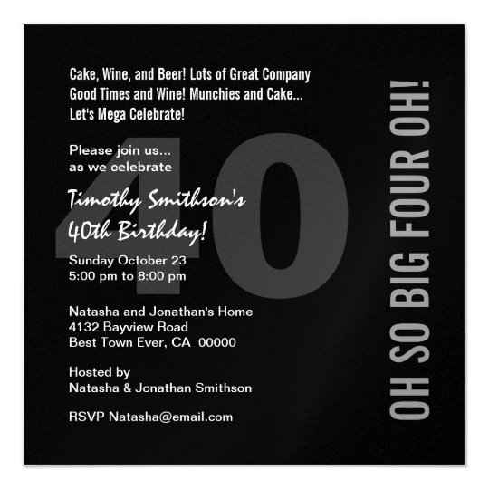 40th Modern Birthday Black White Red FOUR OH W268 Card