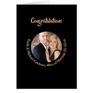 40th PHOTO Wedding Anniversary Black Gold Marble Card