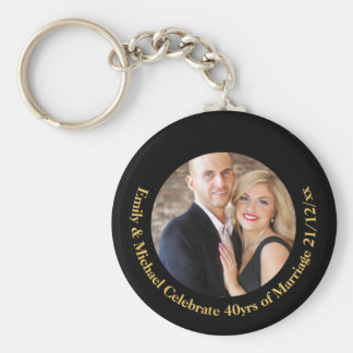 40th PHOTO Wedding Anniversary Black Gold Marble Key Ring