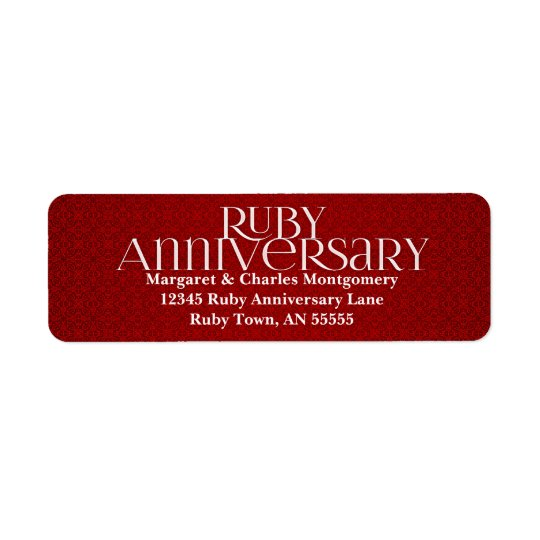 40th Ruby Anniversary Avery Label