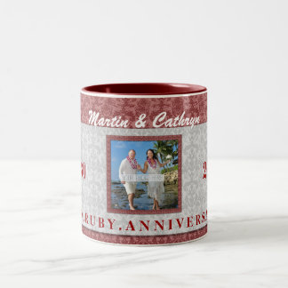 40th Ruby Anniversary Red and Silver Damask Photo Two-Tone Coffee Mug