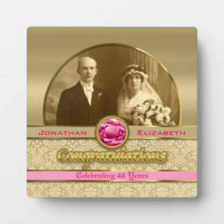 40th Ruby Wedding Anniversary Gem Damask Photo Plaques