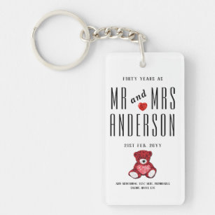 40th RUBY Wedding Anniversary Gift Personalised Key Ring