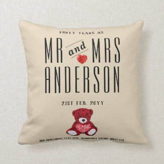 40th RUBY Wedding Anniversary Gift Personalized Cushion