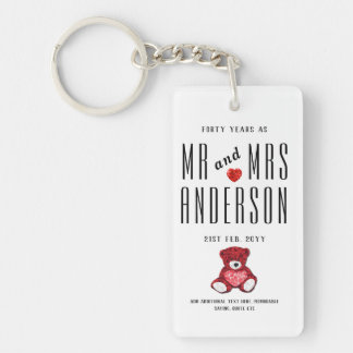 40th RUBY Wedding Anniversary Gift Personalized Key Ring