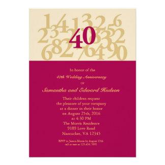 40th Ruby Wedding Anniversary Invitation