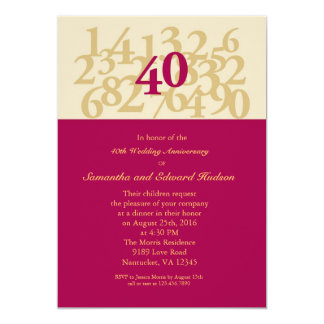"40th Ruby Wedding Anniversary Invitation 5"" X 7"" Invitation Card"