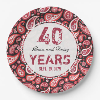 40th Ruby Wedding Anniversary Paisley Pattern Paper Plate