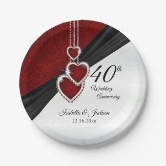 40th Ruby Wedding Anniversary Paper Plate