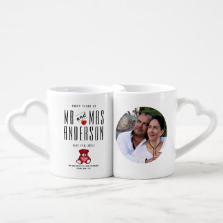 40th RUBY Wedding Anniversary PHOTO Gift Couple Coffee Mug Set