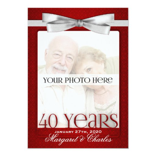 Ruby Wedding Anniversary Gift Experiences : 40th Ruby Wedding Anniversary Photo Invitations Zazzle