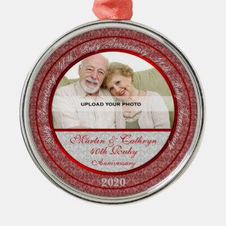 40th Ruby Wedding Anniversary   Photo Ornament