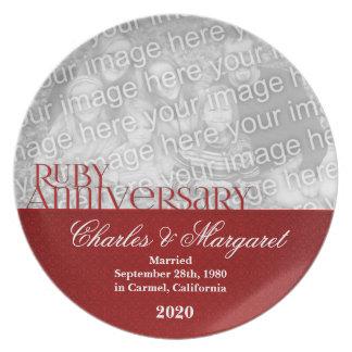 40th Ruby Wedding Anniversary Photo Plate