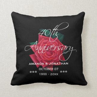 40th Ruby Wedding Anniversary Red Rose Cushion