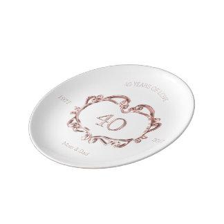 40th Ruby Wedding Anniversary Typography Elegant Plate