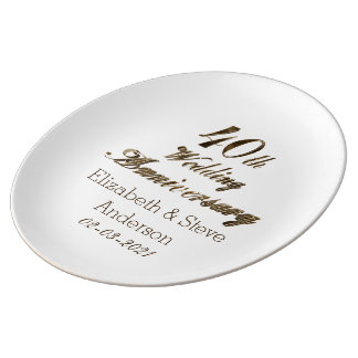 40th Ruby Wedding Anniversary Typography Elegant Plate