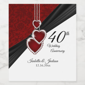 40th Ruby Wedding Anniversary Wine Label
