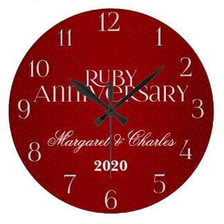 40th Ruby Wedding Annivsersary Custom Wall Clock
