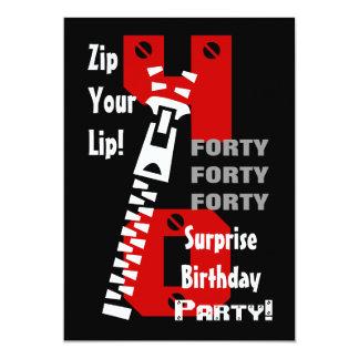 40th SURPRISE Birthday Black Red White B472 Card