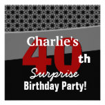 40th Surprise Birthday Modern Black White Red Grey Personalised Announcements