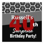 40th Surprise Birthday Modern Black White Red V34 Invite