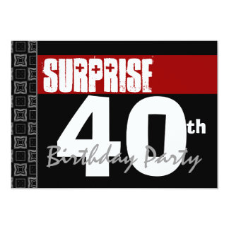 40th Surprise Birthday Modern Red Black and White 13 Cm X 18 Cm Invitation Card