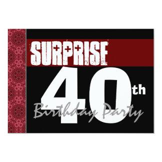 40th Surprise Birthday Modern Red Black and White 13 Cm X 18 Cm Invitation Card