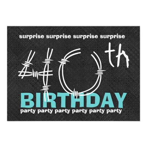 40th SURPRISE Birthday Party Blue Black C341 Personalized Invitations