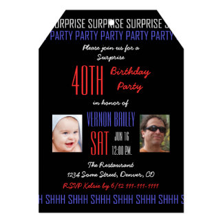 40th Surprise Birthday Party for Men with Pictures Card