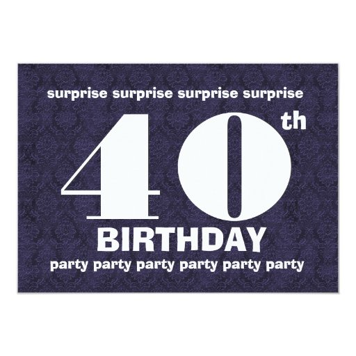40th surprise midnight birthday party template v21 13 cm x 18 cm invitation card zazzle. Black Bedroom Furniture Sets. Home Design Ideas