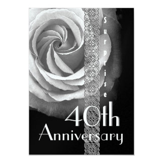 40th SURPRISE Wedding Anniversary SILVER Rose Card