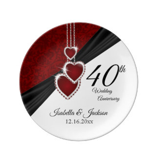 40th Wedding Anniversary Beautiful Keepsake Plate