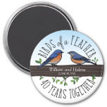 40th Wedding Anniversary, Bluebirds of a Feather 7.5 Cm Round Magnet