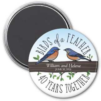 40th Wedding Anniversary, Bluebirds of a Feather Magnet
