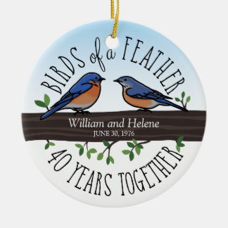 40th Wedding Anniversary, Bluebirds of a Feather Round Ceramic Decoration