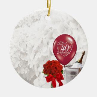40th Wedding Anniversary Ceramic Ornament