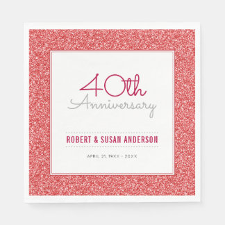 40th Wedding Anniversary Faux Red Glitter Paper Napkin