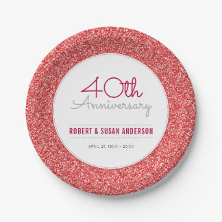 40th Wedding Anniversary Faux Red Glitter Paper Plate