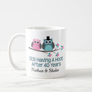 40th Wedding Anniversary His Hers Owl Gift Mug