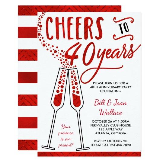 40th Wedding Anniversary Invitation, Faux Glitter Card