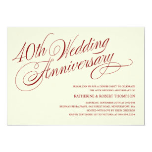40th anniversary wedding invitations zazzle com au