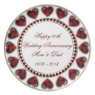 40th Wedding Anniversary Melamine Plate
