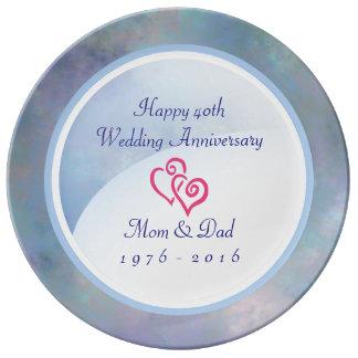 40th wedding anniversary Misty Blues Plate